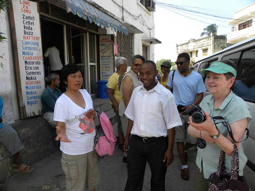 Our guide and the group in Stone Town